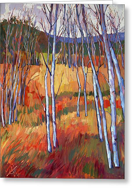 Aspens At Zion Greeting Card by Erin Hanson
