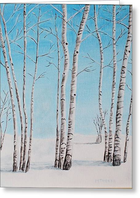 Aspens In Snow Greeting Card by Melvin Turner