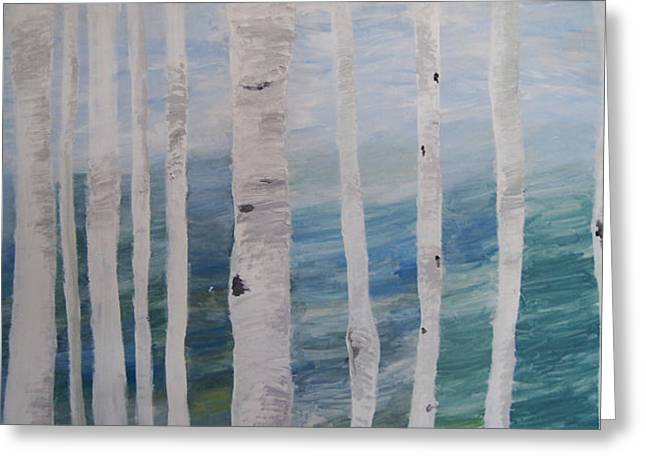 Aspens In Winter Greeting Card by Jessie Nolan