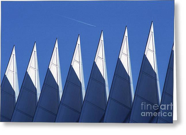 aSPIREing Air Force Academy Chapel with Jet Greeting Card