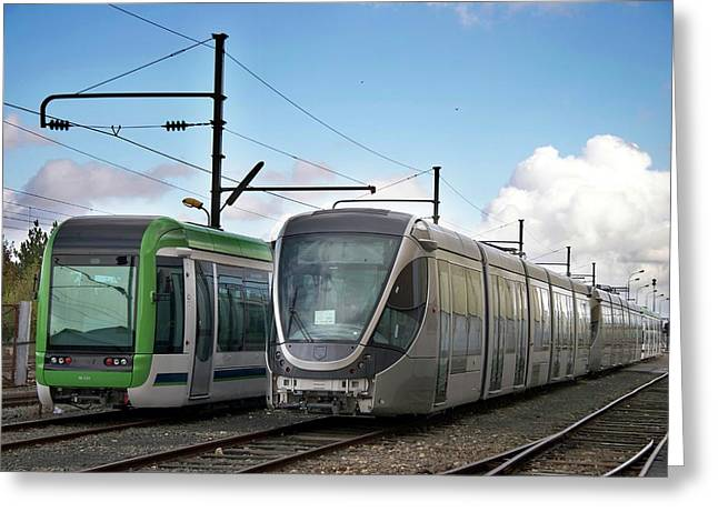 Assembled Trams Awaiting Delivery Greeting Card