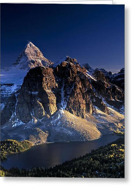 Assiniboine And Sunburst Peak At Sunset Greeting Card