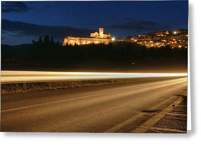 Assisi By Night Greeting Card by Luca Roveda