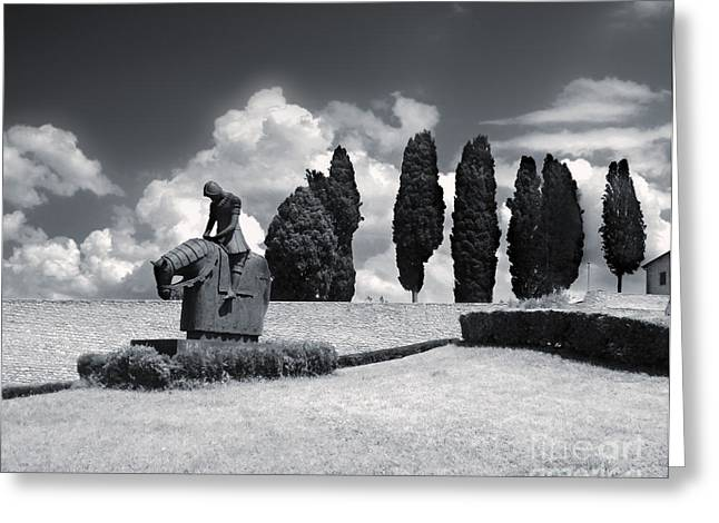 Assisi Italy - Basilica Of San Francesco D'assisi Statue Greeting Card by Gregory Dyer