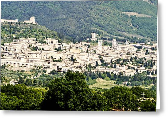 Assisi Italy - Medieval Hilltop City Greeting Card by Jon Berghoff
