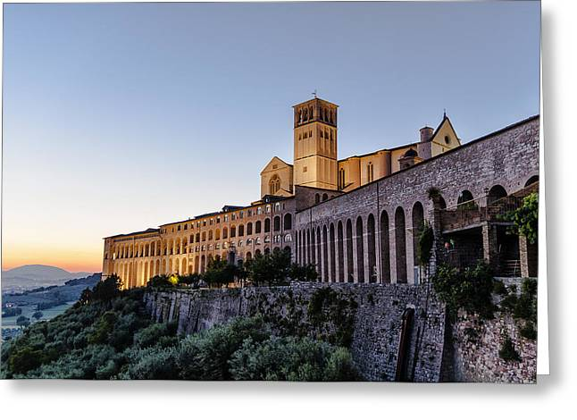 St Francis Of Assisi At Dusk - Assisi Italy Greeting Card by Jon Berghoff