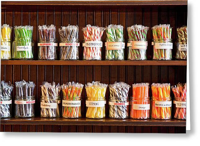 Assorted Candies In Jars, Fort Steele Greeting Card by Panoramic Images