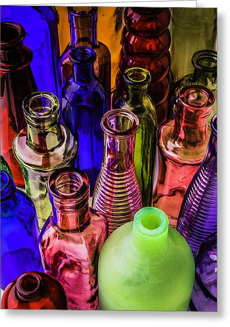 Assorted Colored Bottles Greeting Card