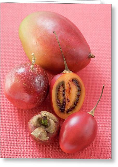 Assorted Exotic Fruits (overhead View) Greeting Card