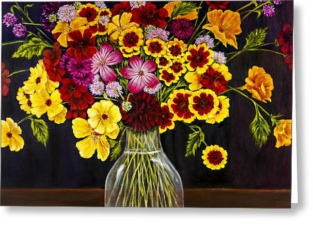 Assorted Flowers In A Glass Vase By Alison Tave Greeting Card by Sheldon Kralstein