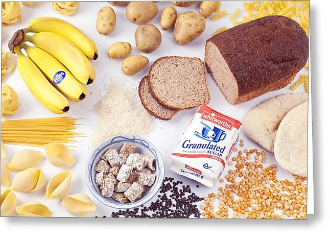 Assorted Foods Containing Carbohydrates Greeting Card by Martyn F. Chillmaid