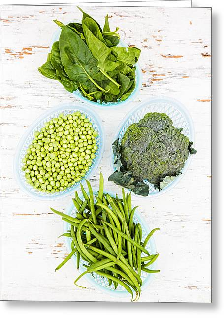 Assorted Green Vegetables Greeting Card