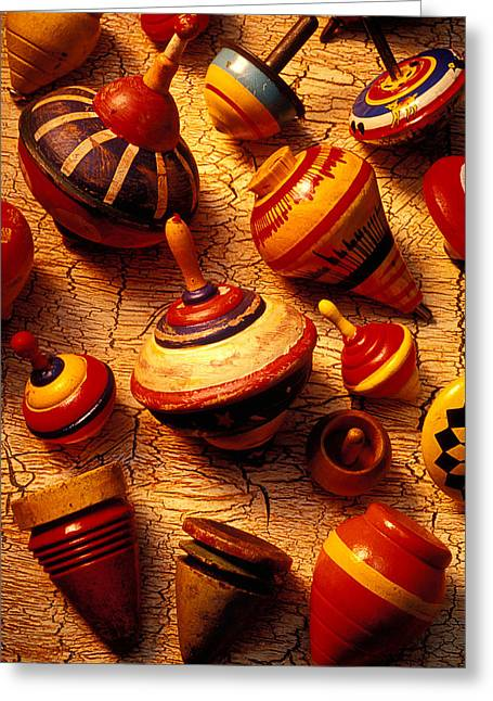 Assorted Toy Tops Greeting Card by Garry Gay