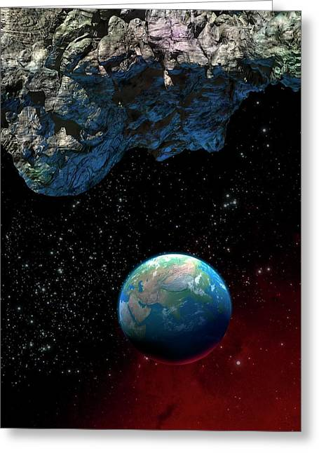 Asteroid And Planet Earth Greeting Card by Victor Habbick Visions