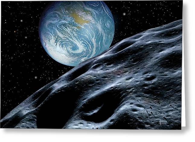 Asteroid Approaching Earth Greeting Card by David A. Hardy