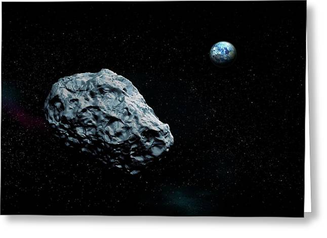 Asteroid Approaching Earth Greeting Card by Mikkel Juul Jensen