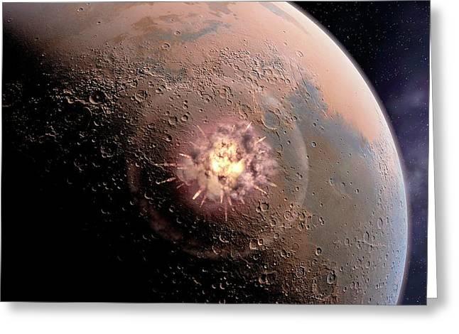 Asteroid Impact On Mars Greeting Card by Joe Tucciarone