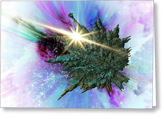 Asteroid In Space Greeting Card by Victor Habbick Visions