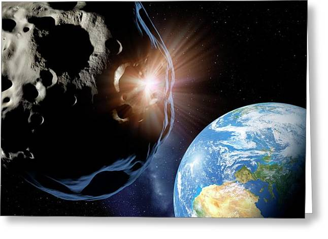 Asteroids Colliding Near Earth Greeting Card by Detlev Van Ravenswaay
