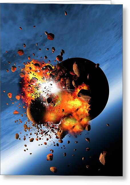 Asteroids Colliding With A Planet Greeting Card by Victor Habbick Visions