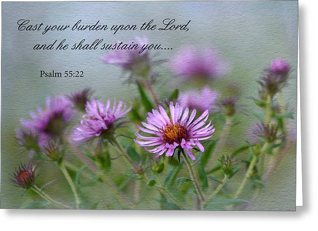 Asters With Scripture Greeting Card