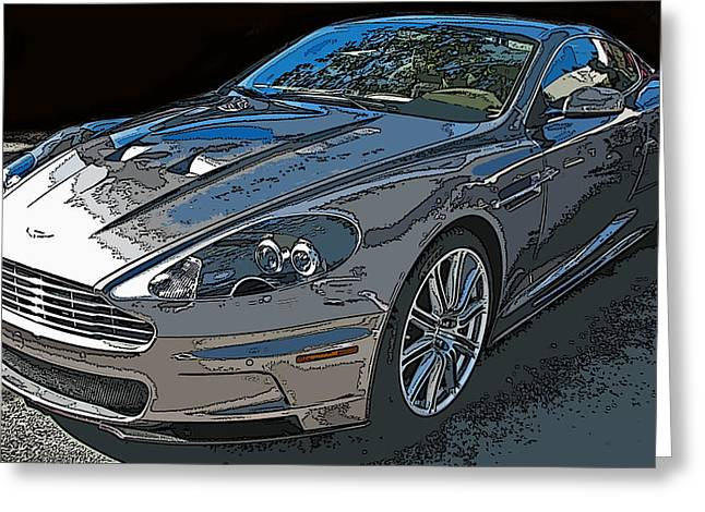 Aston Martin Db S Coupe 3/4 Front View Greeting Card