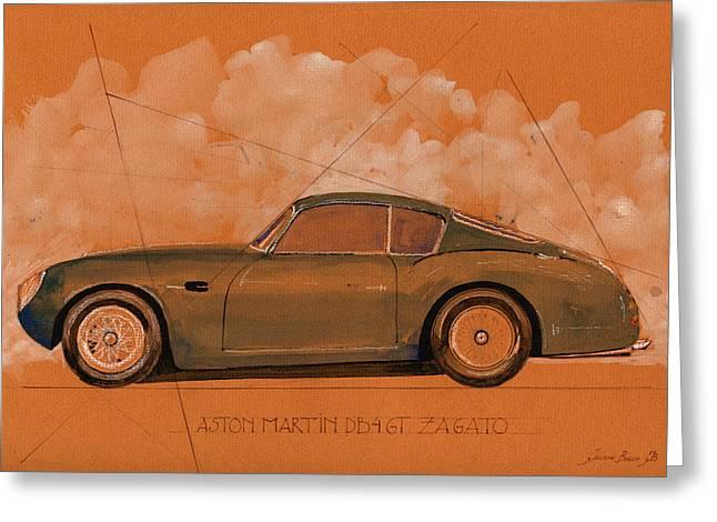 Aston Martin Db4 Gt Zagato Greeting Card by Juan  Bosco