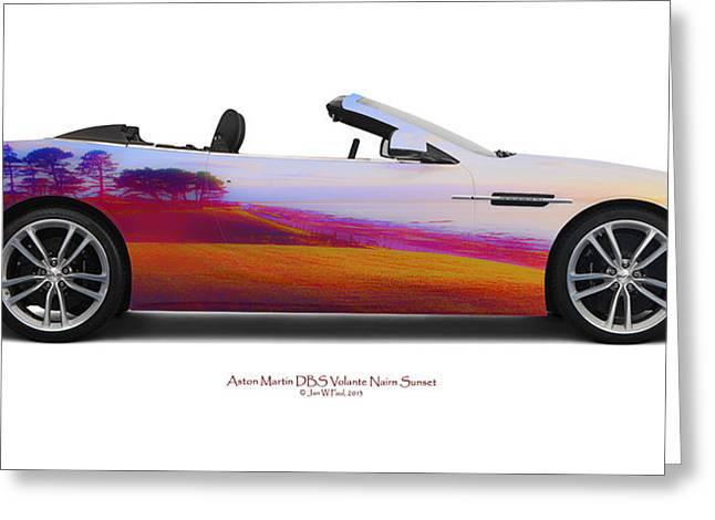 Aston Martin Dbs Volante Nairn Sunset Greeting Card by Jan W Faul