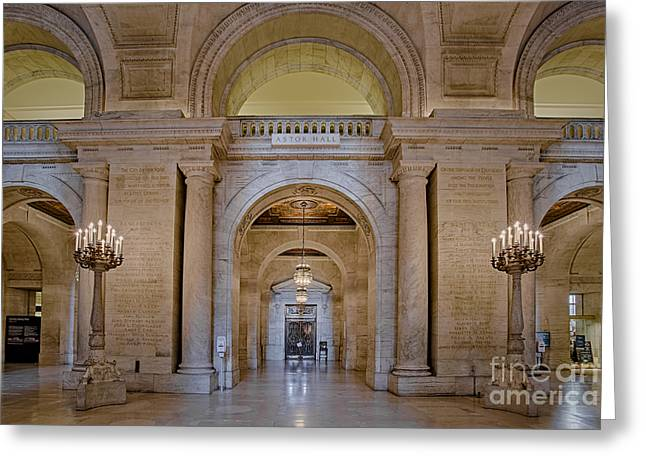 Astor Hall At The New York Public Library Greeting Card by Susan Candelario