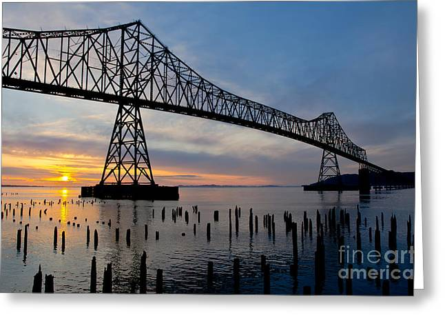 Astoria Bridge Sunset Greeting Card