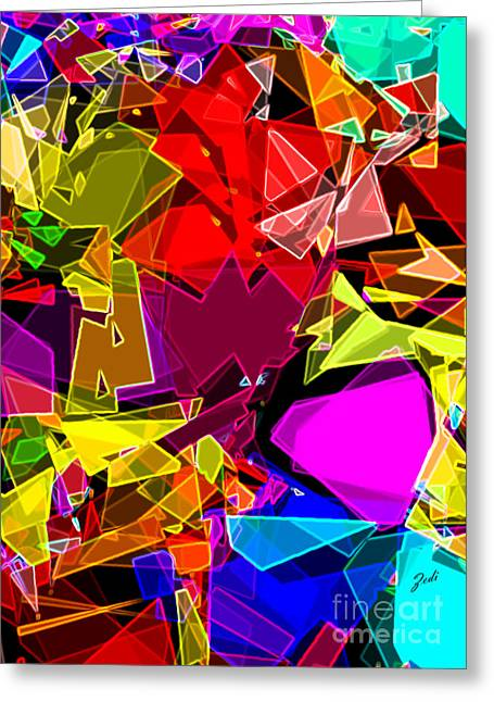 Greeting Card featuring the digital art Astratto - Abstract 53 by Ze  Di