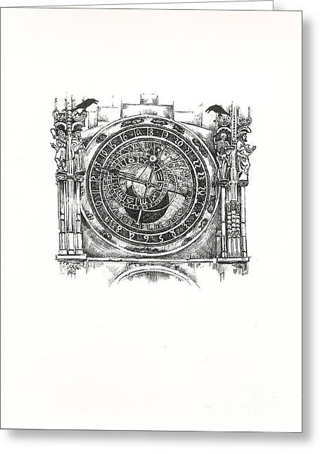 Astrological Clock  Greeting Card