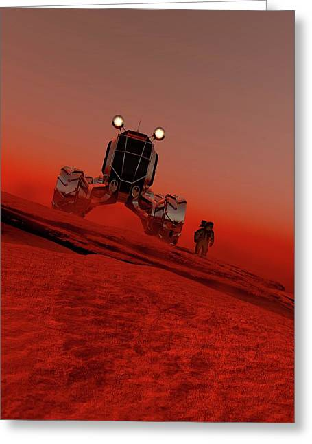 Astronaut And Vehicle On Mars Greeting Card by Victor Habbick Visions