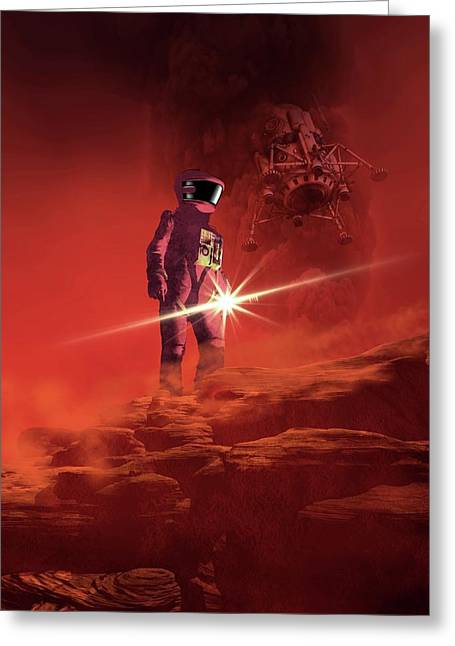 Astronaut Exploring Mars Greeting Card by Victor Habbick Visions