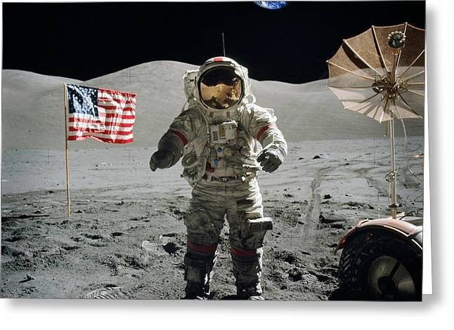 Astronaut On The Lunar Surface Earth On The Background Greeting Card