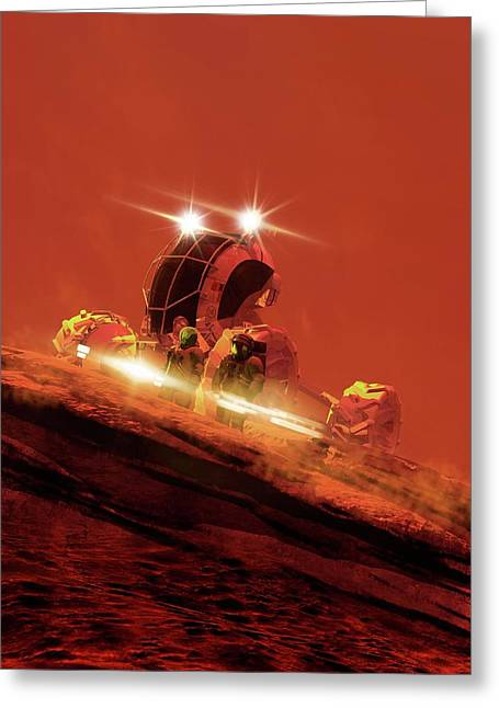 Astronaut On The Surface Of Mars Greeting Card by Victor Habbick Visions