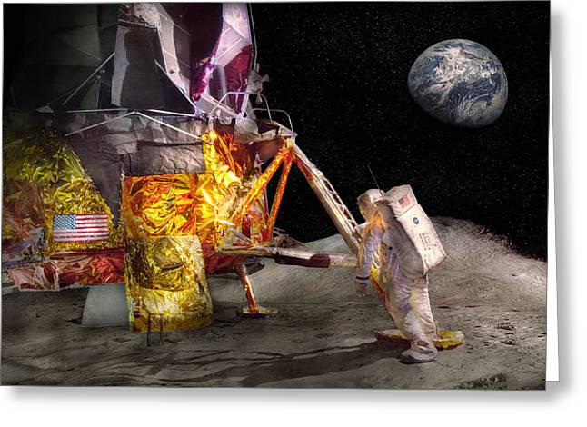 Astronaut - One Small Step Greeting Card by Mike Savad
