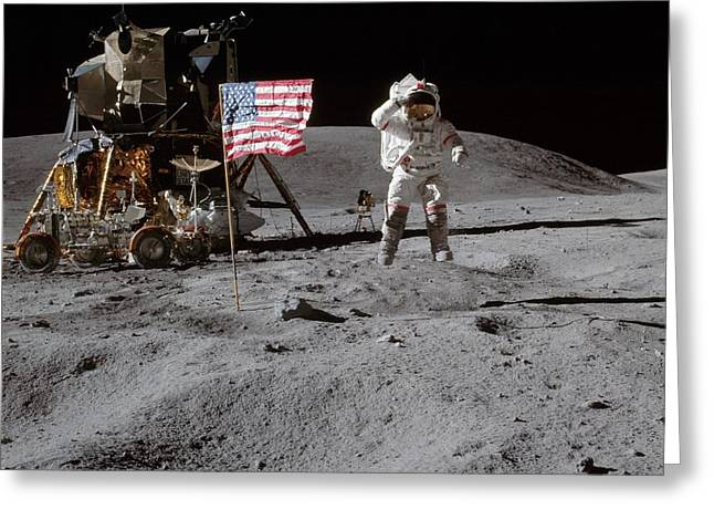 Astronaut Saluting The American Flag During Apollo 16 Mission Greeting Card