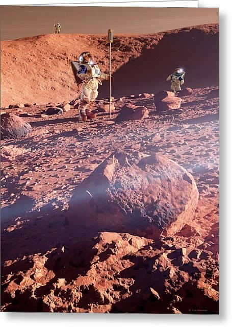 Astronauts On Mars Greeting Card by Detlev Van Ravenswaay
