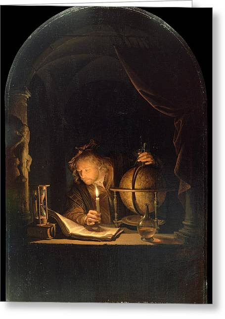 Astronomer By Candlelight Greeting Card