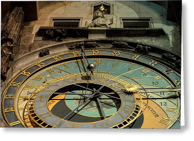 Astronomical Clock Greeting Card by Sergey Simanovsky