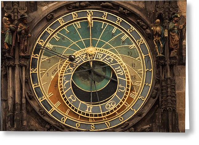 Astronomical Clock Greeting Card by Shirley Radabaugh