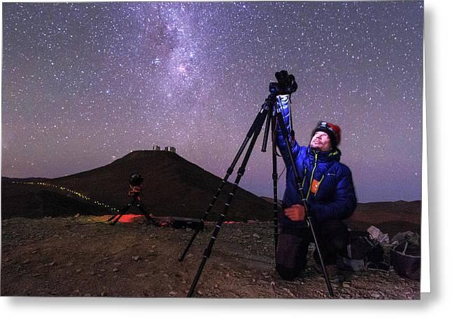 Astrophotographer In The Desert Greeting Card by Babak Tafreshi