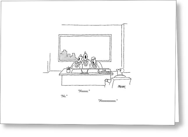 At A Desk, With A Placard That Says Greeting Card by Jack Ziegler