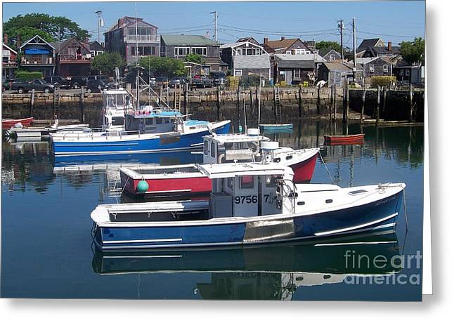 Colorful Boats Greeting Card by Eunice Miller