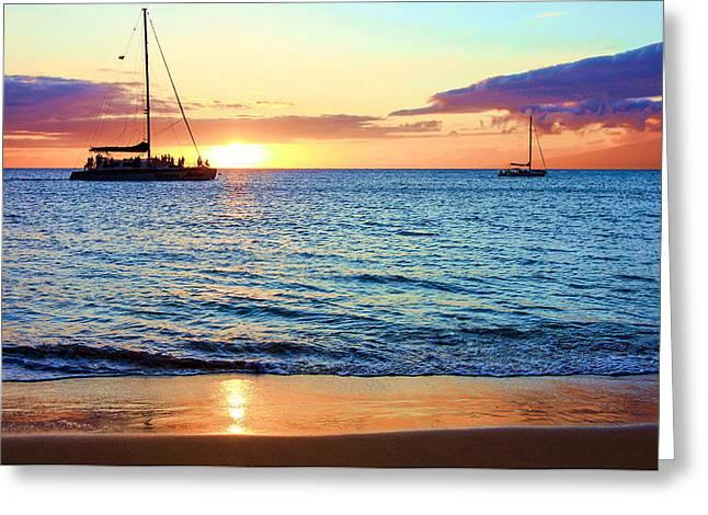 At Sea Sunset Greeting Card by Robert  Aycock