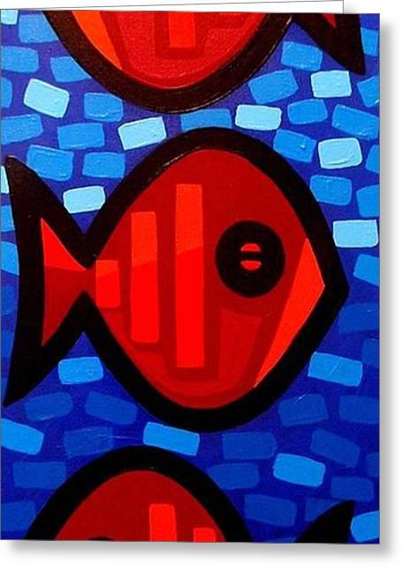 At Sleep Three Fish Greeting Card by John  Nolan