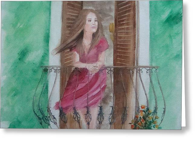 At The Balcony Greeting Card by Angela Melendez