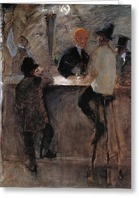 At The Bar Greeting Card by Toulouse-Lautrec