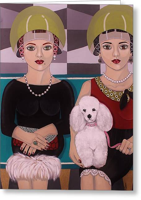 At The Beauty Salon Greeting Card by Stephanie Cohen